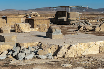 Column and ruins of the Audience Hall in the Ancient Persian city of Pasargad, Iran. UNESCO World Heritage