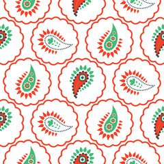 Paisley pattern seamless vector. Green and red circles asian folk floral texture for textile, fabric print and clothes.