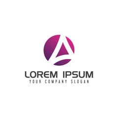 letter A circle Logo. design concept template