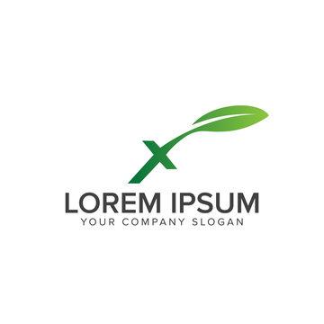 letter x nature logo design concept template
