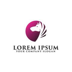 horse circle logo design concept template