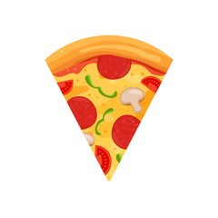 Pizza slice sign. Cartoon vector illustration.