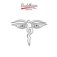Buddha eyes. Symbol of Buddhism. Spirituality,Yoga print. Vector hand drawn illustration. Sketch style