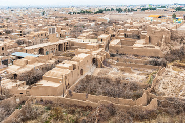 Panorama of Meybod, ancient city in Iran, Asia