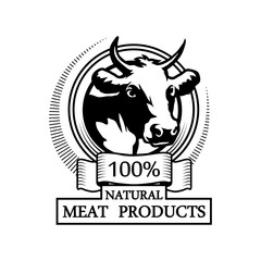 Logo 100% natural meat. Trademark with a cow head. Black silhouette of a bull. Professional label