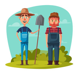 Funny farmers. Cartoon vector illustration.