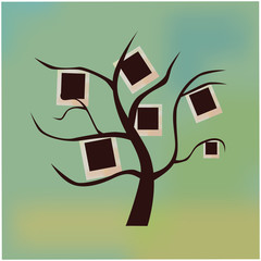 Black tree with blank frames on branches