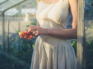 Woman in dress with tomatoes in greenhouse
