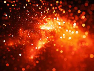 Fiery glowing nebula with stars in bokeh, depth of field