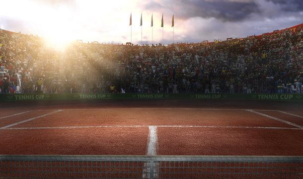 Tenis ground court grande arena 3d rendering