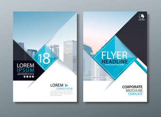 Black blue annual report brochure flyer design, Leaflet cover presentation, book cover template. Wall mural