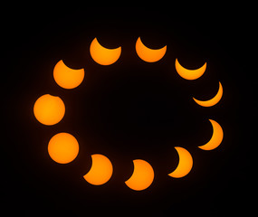 Stages of Partial Solar Eclipse, with a peak magnitude of 80 percent. Observed in Dallas, Texas on August 21, 2017.