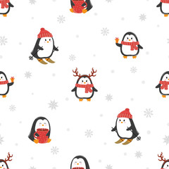 Cute cartoon penguins seamless pattern. Merry Christmas greetings. Vector holiday background.