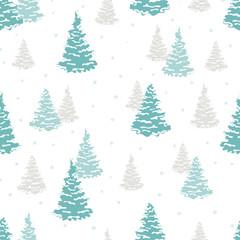 Seamless fir tree pattern. Vector forest winter background.