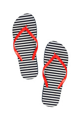 Striped rubber flip flops, isolated on a white background