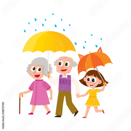 Vector Grey Haired Man And Woman Walks In The Rain Happily Keeping