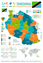 Tanzania - infographic map and flag - illustration