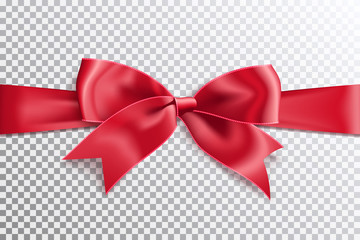 Realistic satin red bow knot on ribbon. Vector illustration icon isolated.