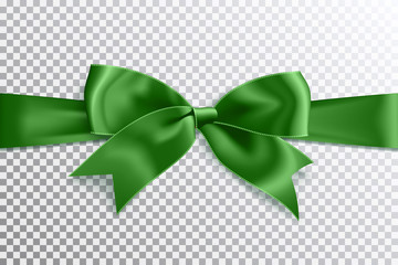 Realistic satin green bow knot on ribbon. Vector illustration icon isolated.