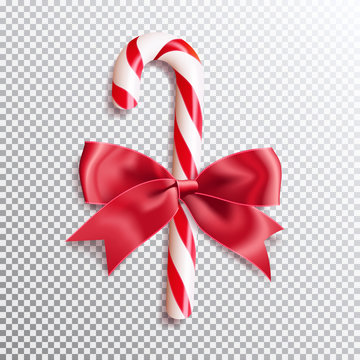 Realistic christmas candy cane with red satin bow knot. Vector illustration icon isolated.
