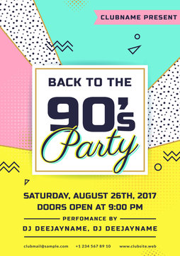 Retro party invitation. Trendy flyer template.