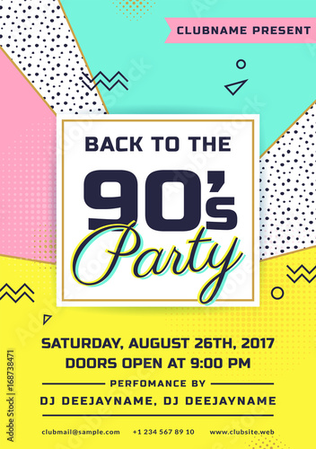 Retro Party Invitation Trendy Flyer Template Stock Image And