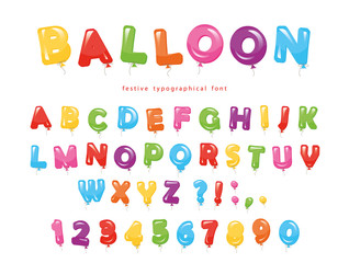 Balloon colorful font. Festive glossy ABC letters and numbers. For birthday, baby shower celebration.
