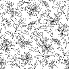 Pattern with abstract flowers. Coloring book page
