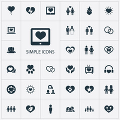 Vector Illustration Set Of Simple Wedding Icons. Elements Smartphone, Favorite, Sun And Other Synonyms Heart, Childhood And Girl.