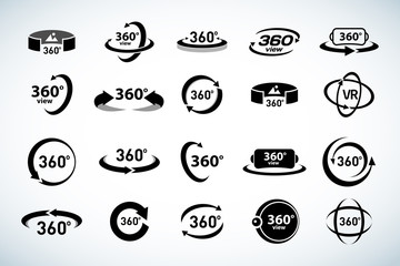 360 Degrees View Vector Icons set. Virtual reality icons. Isolated vector illustrations. Black and white version.