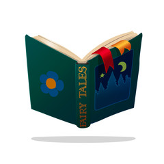 vector cartoon object illustration. Old open book of fairy tales. Bedtime stories.