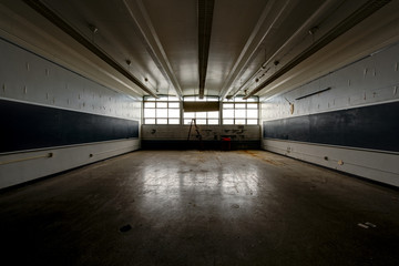 Wide Classroom with Chalkboards - Vintage, Abandoned School
