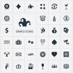 Vector Illustration Set Of Simple Gambling Icons. Elements Rate, Cash, Portfolio And Other Synonyms Poker, Luck And Exchange.
