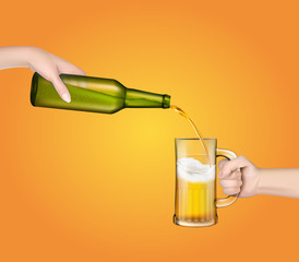 Vector illustration of a cold barley beer pouring from a bottle into a transparent glass in a realistic style.