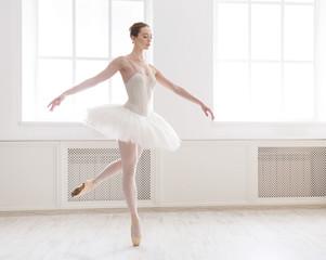 Beautiful ballerina dance in ballet class