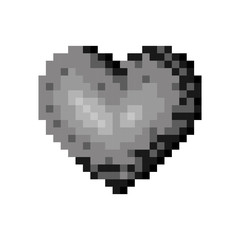 monochrome pixelated heart shape figure