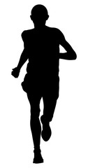 male runner leader of marathon running black silhouette