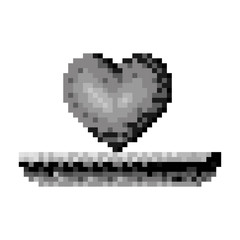monochrome pixelated heart in meadow