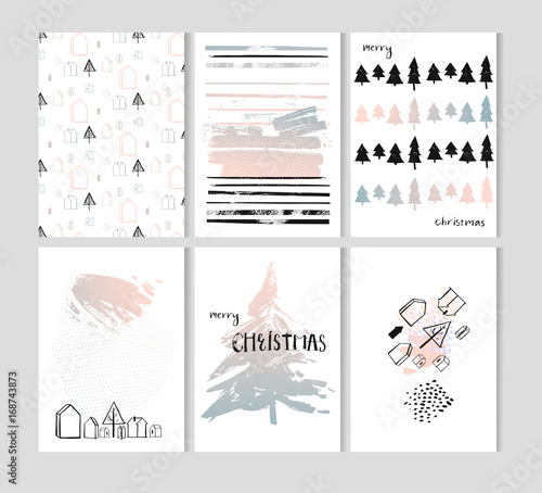 merry christmas set of card templates collection for greeting