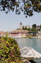 Schaffhausen, Stadt, Altstadt, Rhein, Schifflände, Munot, Festung, Rheinufer, Schifffahrt, Rheinschiffe, Uferweg, Sommer, Schweiz