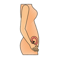colored crayon silhouette of side view pregnancy process in female body embryo growth