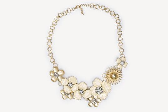 beaded necklace isolated on white background
