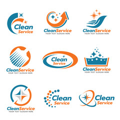 Orange and blue Clean service logo vector set design