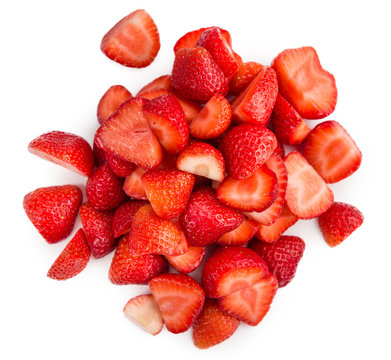 Chopped Strawberries isolated on white background