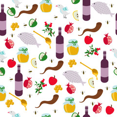 Rosh Hashanah, Shana Tova or Jewish New year seamless pattern, with honey, apple, fish, bee, bottle, torah and other traditional items