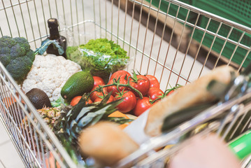 Shopping grocery cart with products in shop
