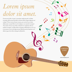 Classical acoustic guitar. Musical string instrument collection. Vector illustration eps 8 in flat style. For your design and business.