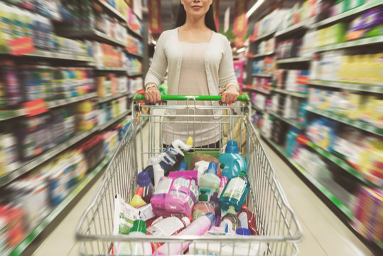 Adult female person in supermarket