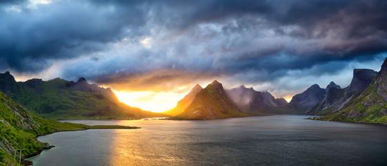Fotomurales - Sunset time in Lofoten Islands, Norway