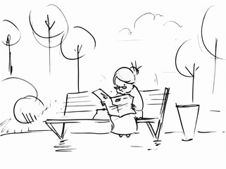 Old woman reading a newspaper in the park. Vector sketch